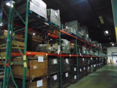 LOT CONTENTS OF PALLET RACKING SECTIONS (24) : steel parts, cardboard boxes (no powder coat or