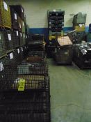 LOT CONSISTING OF: empty wire baskets & fold up plastic boxes, assorted (in two rows)