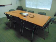 LOT CONSISTING OF: table, (13) chairs, white board & tv