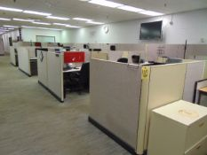 LOT OF OFFICE CUBICLES: (2) printers, (20) chairs, total of (23) desks