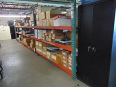 LOT CONTENTS OF MEZZANINE: (9) sections of pallet racking, (13) assorted file cabinets, assorted