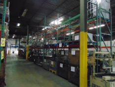 LOT CONTENTS OF PALLET RACKING SECTIONS (22) : steel parts & wire baskets (no racks)