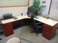 LOT CONSISTING OF: L-shaped desk, table, printer, ornamental plant, white board & (6) chairs