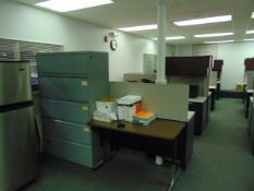 LOT OF OFFICE CUBICLES: (7) work stations total, refrigerator, copy machine, (3) printers, (4)