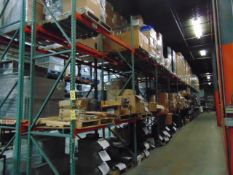 LOT CONTENTS OF PALLET RACKING SECTIONS (24) : steel parts, 3 x 5 followers, plastic hooks,