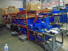 LOT CONSISTING OF: hardware, assorted steel parts, lockable terminal stands, springs, hinges, lock