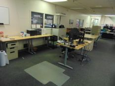 LOT CONSISTING OF: (5) L-shaped desks, (6) tables, (8) assorted file cabinets, (2) assorted printers