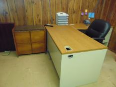 LOT CONSISTING OF: (2) L-shaped desks, (2) file cabinets & (2) chairs