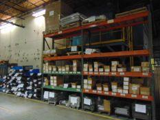 LOT CONSISTING OF: steel hinges & misc. steel components (in two racks & on floor)