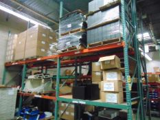 LOT CONSISTING OF: steel parts & cardboard boxes (in six pallet racking sections) (no racks)