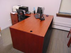 LOT CONSISTING OF: L-shaped desk, file cabinet, printer & (3) chairs