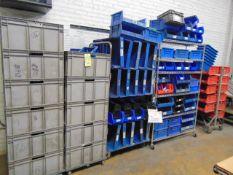 LOT OF PLASTIC BINS, w/ (4) carts, assorted