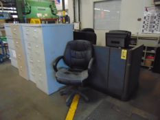 LOT OF OFFICE CUBICLE: H.P. printer, (5) assorted file cabinets & (4) chairs (no computers)