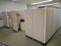 LOT OF OFFICE CUBICLES: total of (8) work stations, w/ (8) file cabinets (no paperwork or