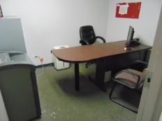 LOT CONSISTING OF: (3) desks, (4) file cabinets, (5) chairs, (2) bookcases & H.P. Printer