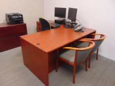 LOT CONSISTING OF: L-shaped desk, table, (5) assorted file cabinets, printer & (7) chairs