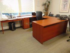 "LOT CONSISTING OF: U-shaped desk, (2) tables, (10) chairs & 64"" LG flat screen tv"