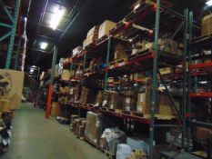 LOT CONTENTS OF PALLET RACKING SECTIONS (23) : steel parts, 3 x 5 followers, plastic hooks,