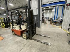 """NISSAN, CPJ02A25PV, 4400 LBS, 3 STAGE, LPG FORKLIFT WITH SIDE SHIFT, 187"""" MAXIMUM LIFT, S/N CPJ02-"""