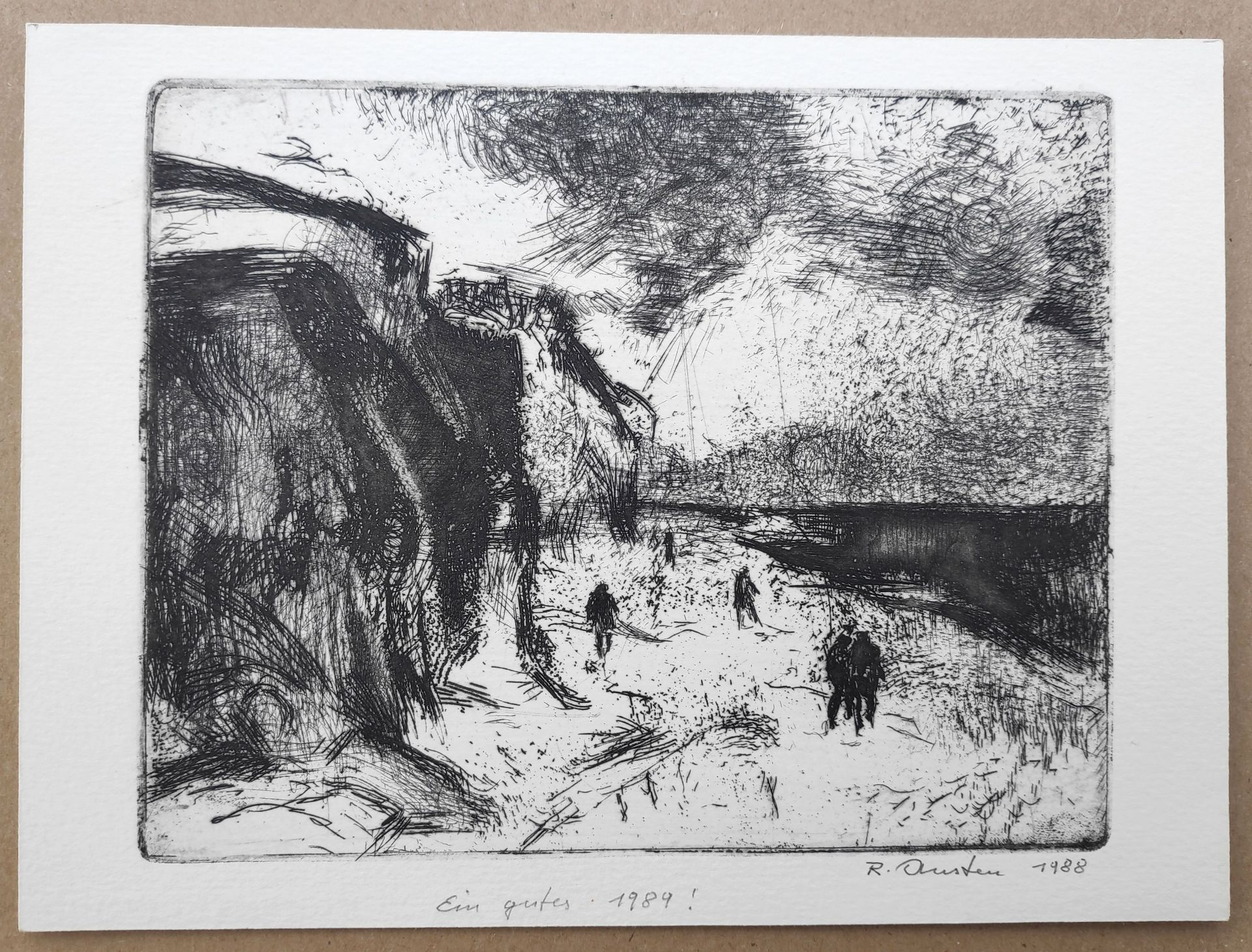 """Austen, Rudolf (1931 Hainspach – 2003 Rostock) 5 Radierungen: """"Kutter"""" (1985) / """"Steilküste"""" (1988) - Bild 3 aus 6"""