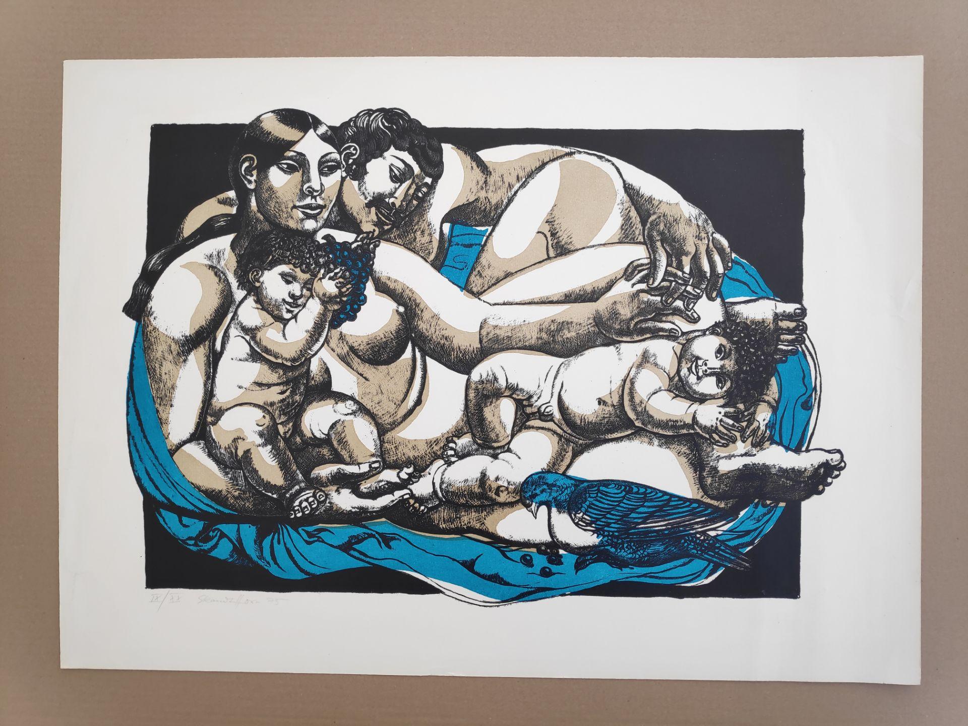 """Kandt-Horn, Susanne (1914 Eisenach – 1996 Ückeritz) """"Familie mit Taube"""" - Bild 2 aus 3"""