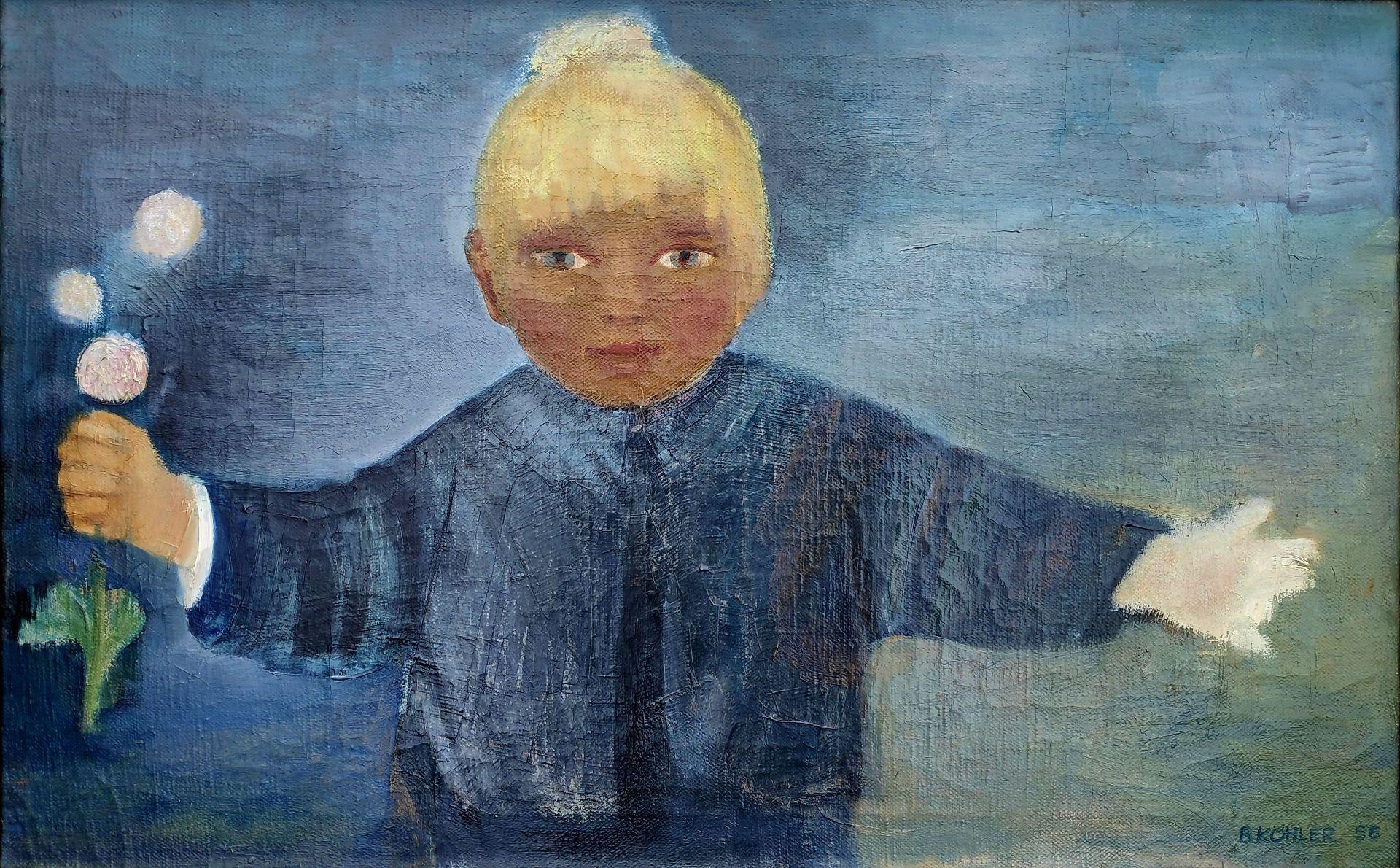 """Köhler-Kliefert, Brigitte (1924 Stralsund - 2001 Berlin) """"Sabine - Mädchen mit Pusteblumen"""""""