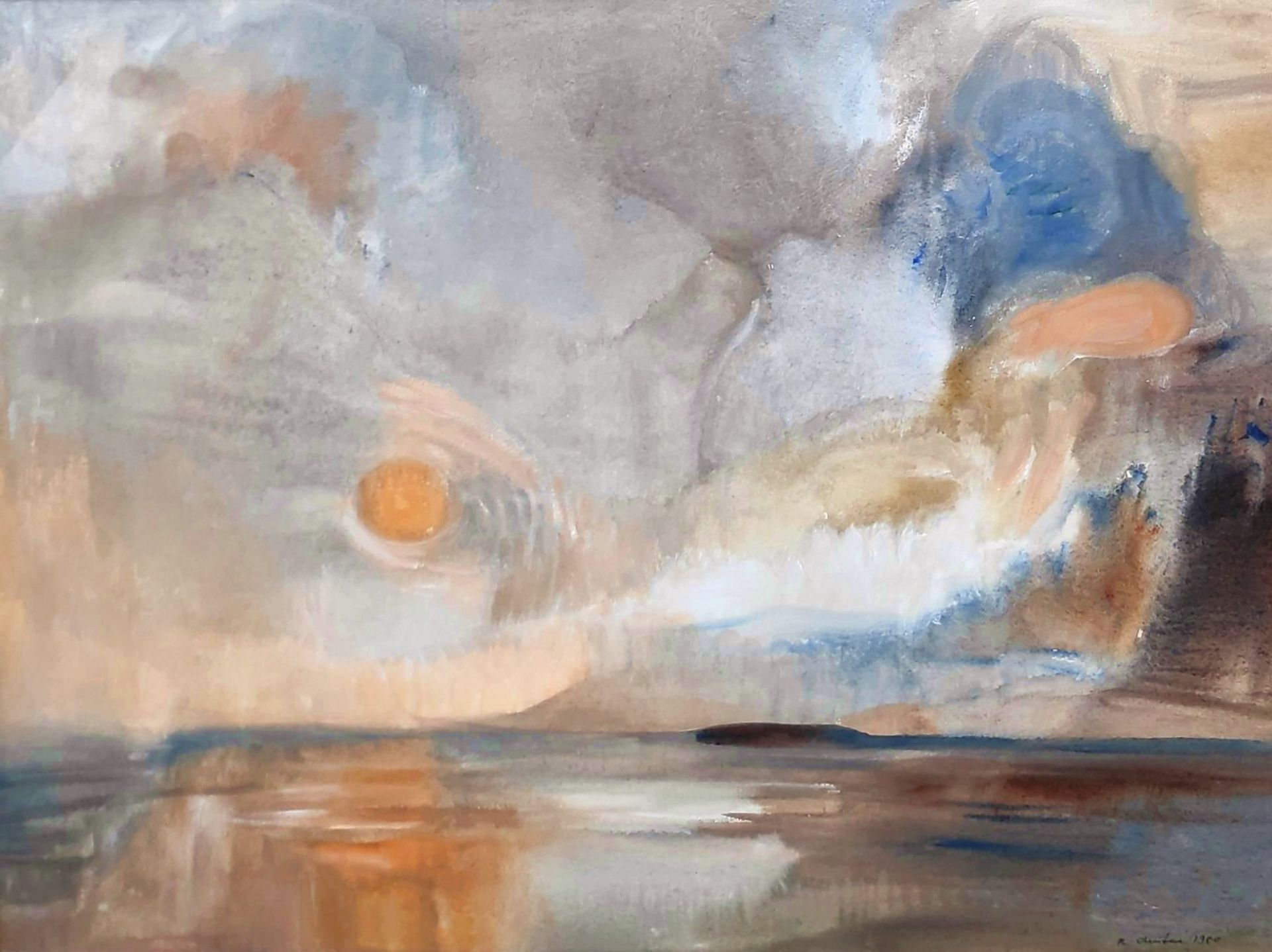 """Austen, Rudolf (1931 Hainspach - 2003 Rostock) """"Abendsonne über Boddenlandschaft"""""""