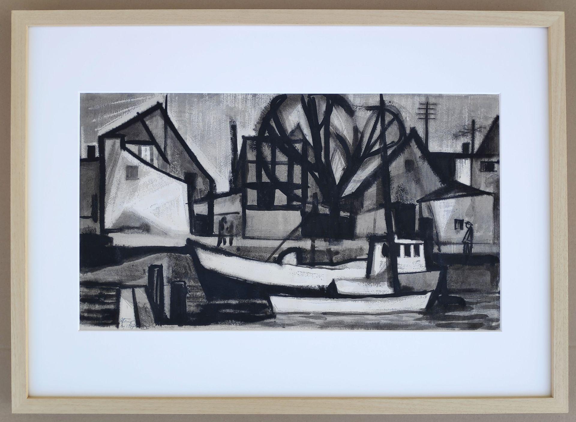 """Körner, Gottfried (1927 Werdau, - 2015 Dresden) """"Warnemünde - Am Strom"""" - Bild 2 aus 3"""