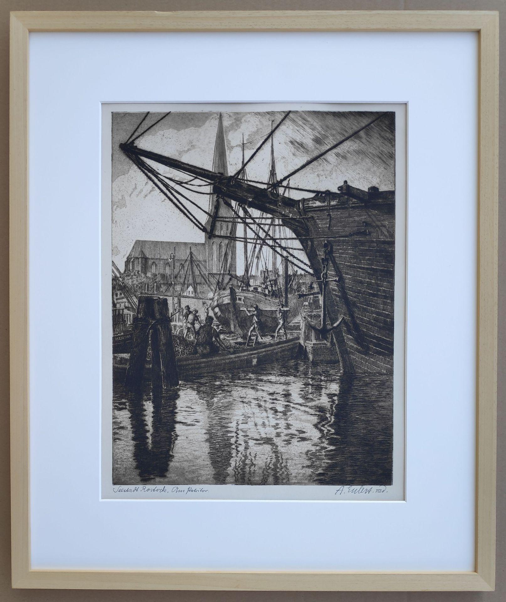 "Eulert, Arthur (1890 Rostock – 1946 Wismar) ""Seestadt Rostock – Am Petritor"" - Bild 2 aus 3"