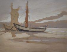 "Jaeckel, Erich (1901 Ahlbeck - 1947 Bansin) ""Zeesboote am Ostseestrand"""