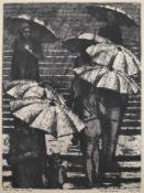 """Bergander, Rudolf (1909 Meißen – 1970 Dresden) """"Auf der Treppe im Regen"""""""