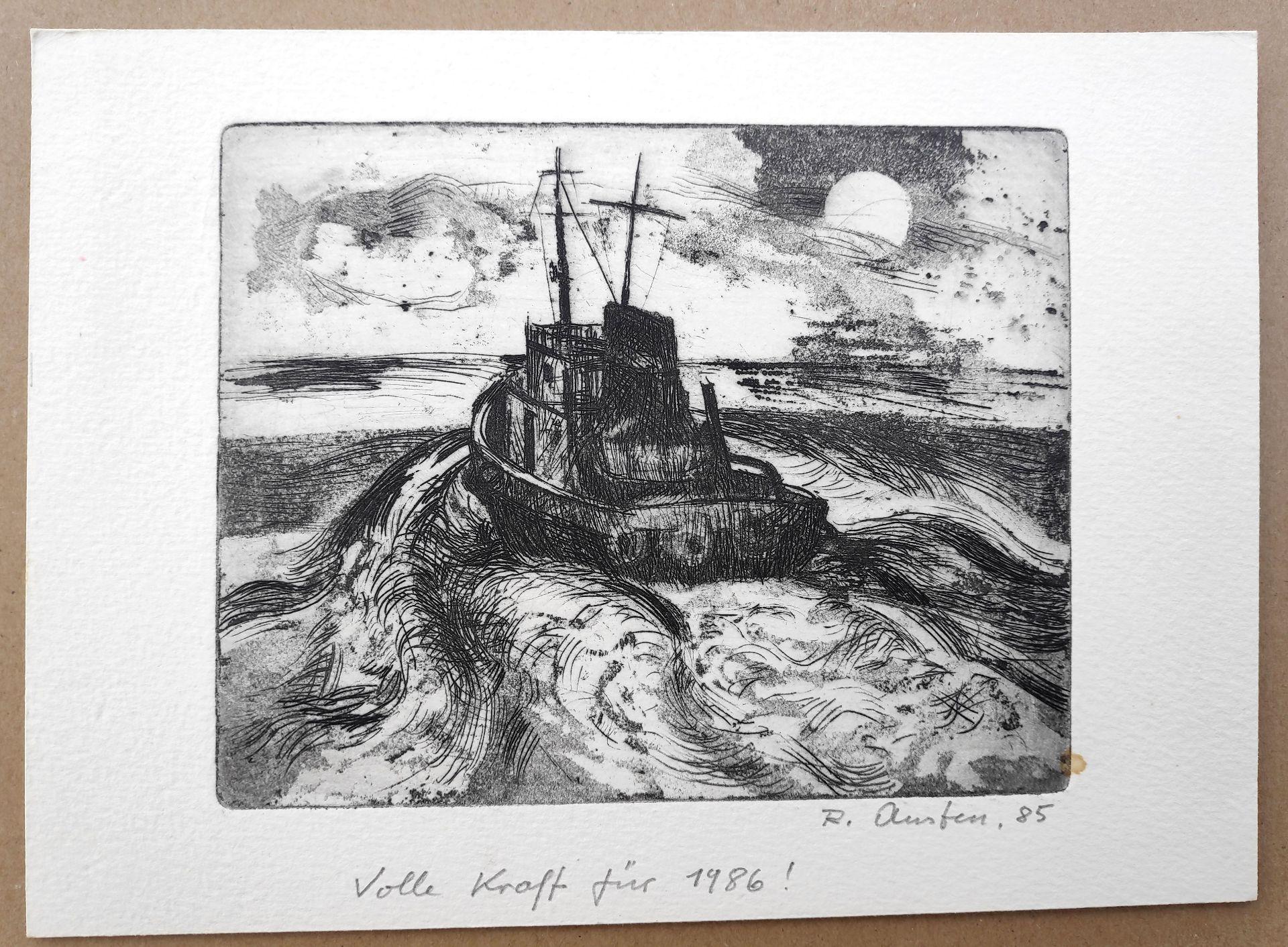 """Austen, Rudolf (1931 Hainspach – 2003 Rostock) 5 Radierungen: """"Kutter"""" (1985) / """"Steilküste"""" (1988) - Bild 5 aus 6"""