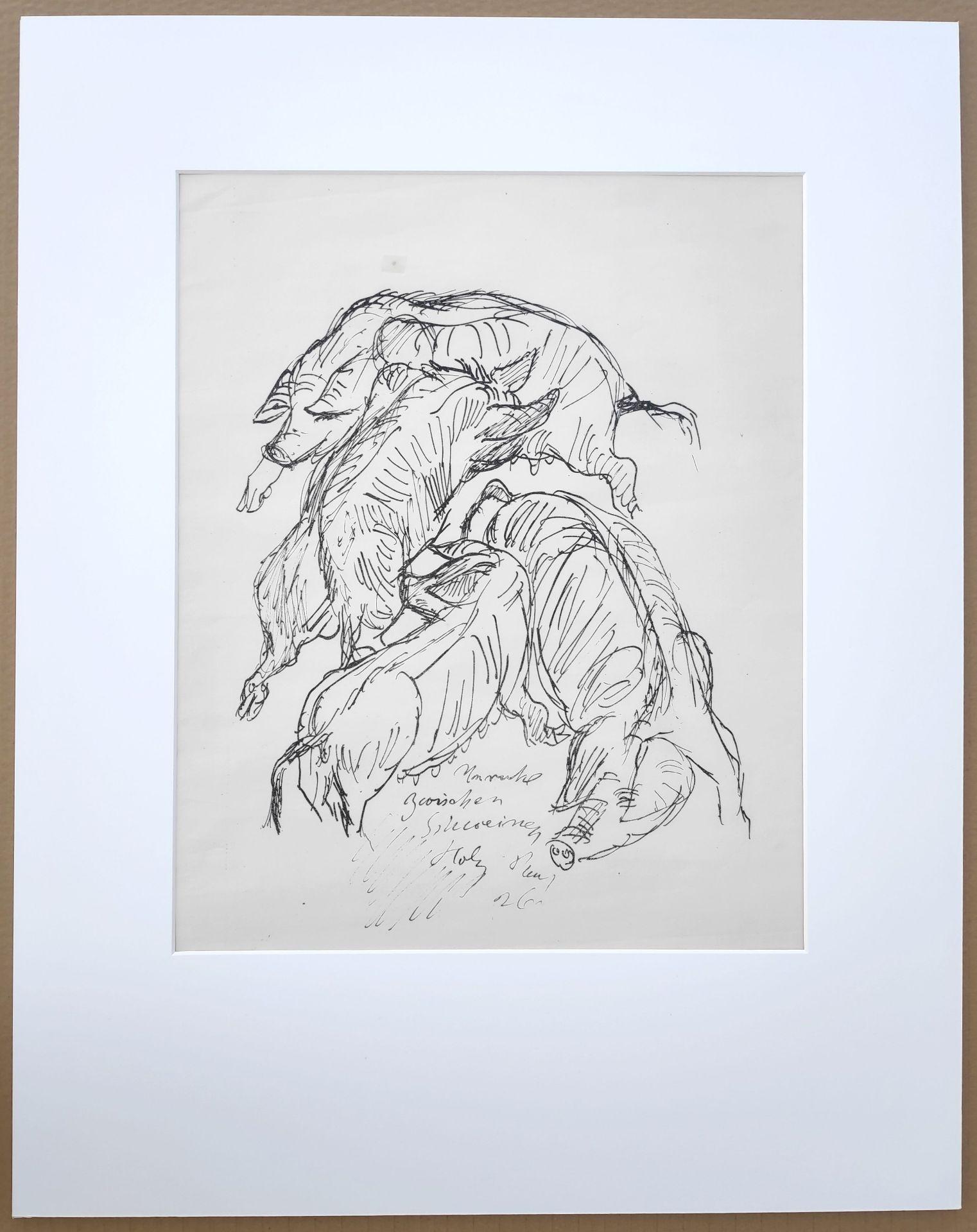 "Holz, Paul (1883 Riesenbrück bei Pasewalk - 1938 Schleswig) ""Unruhe unter Schweinen"" - Bild 2 aus 3"