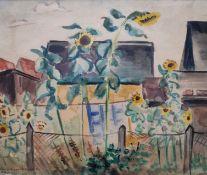 """Albrecht, Ernst Oscar (1895 Ronneburg– 1953 Berlin) """"Gartenstück mit Sonnenblumen"""""""