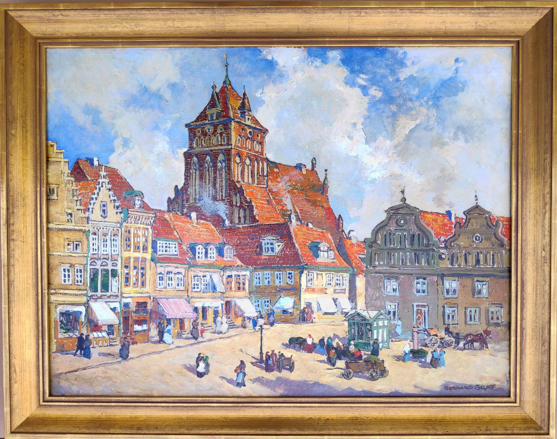 """Graf, Gerhard (1883 Berlin - 1958 Stockholm) """"Markt in Greifswald mit Blick auf St. Marien"""" - Bild 2 aus 3"""
