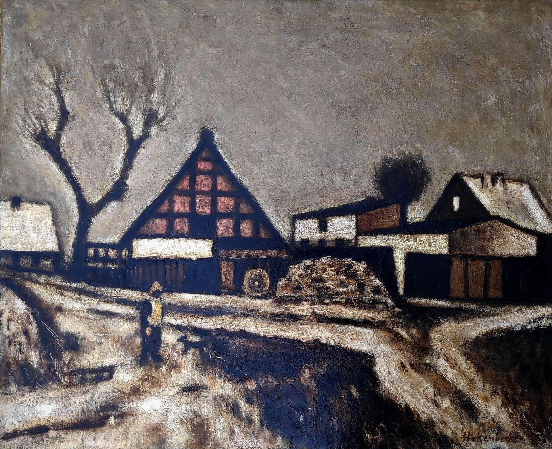 """Hakenbeck, Harald (1926 Stettin, lebt in Berlin) """"Altwarp am Stettiner Haff"""""""