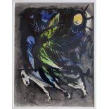 """Chagall, Marc (1887 Witebsk – 1985 Saint-Paul-de-Vence) """"L' ange survolant la forêt"""""""