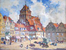 """Graf, Gerhard (1883 Berlin - 1958 Stockholm) """"Markt in Greifswald mit Blick auf St. Marien"""""""