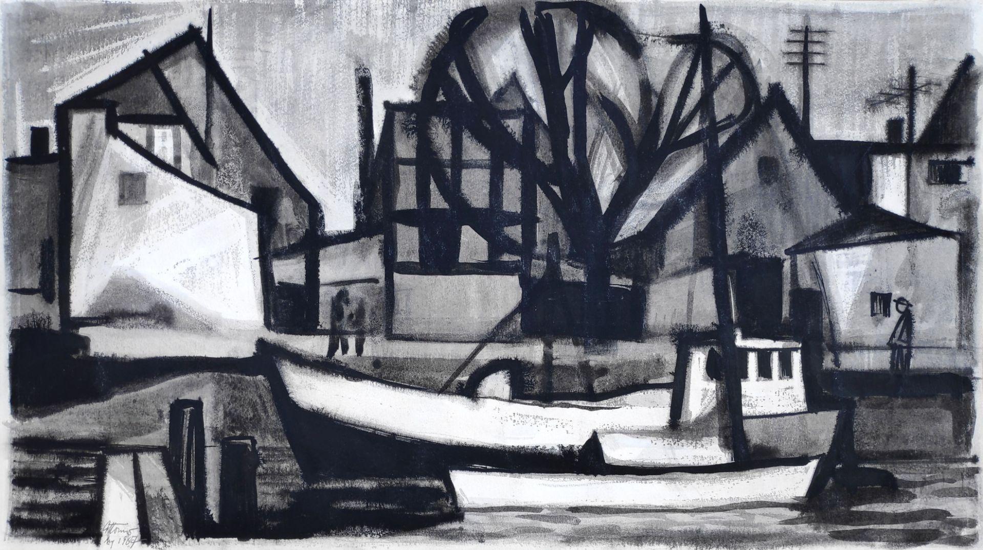 """Körner, Gottfried (1927 Werdau, - 2015 Dresden) """"Warnemünde - Am Strom"""""""