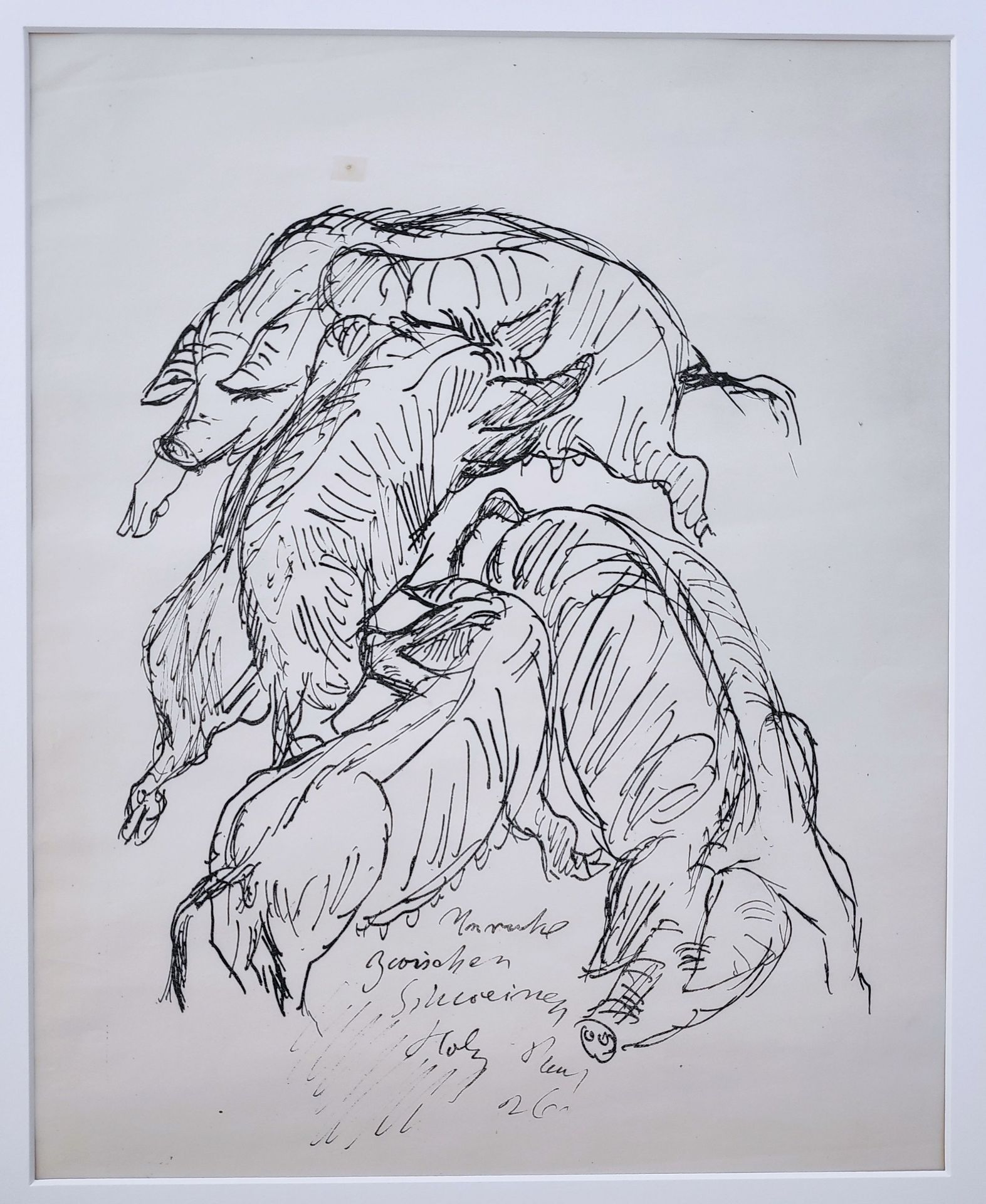 """Holz, Paul (1883 Riesenbrück bei Pasewalk - 1938 Schleswig) """"Unruhe unter Schweinen"""""""