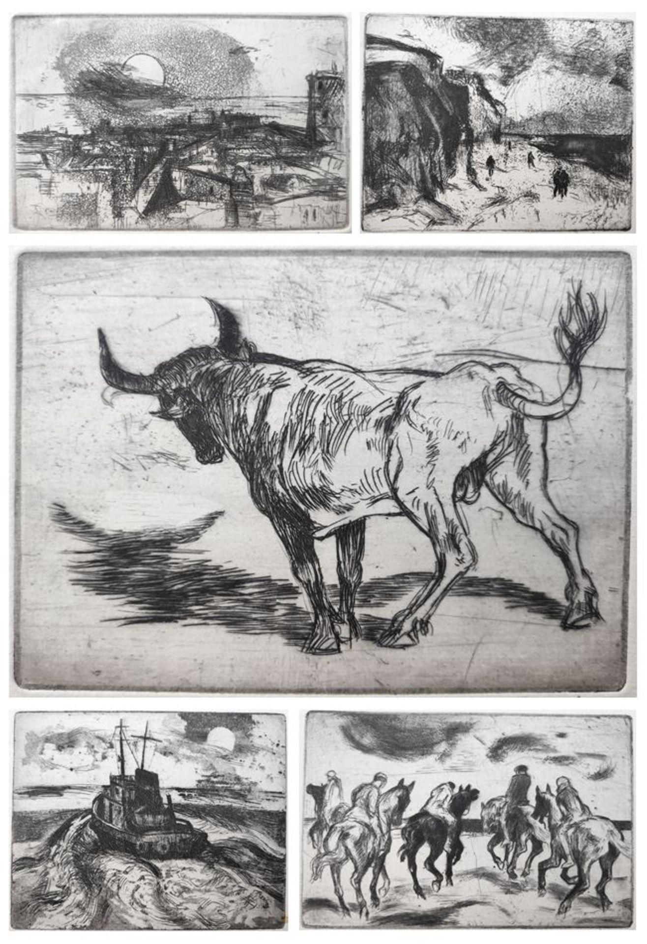 """Austen, Rudolf (1931 Hainspach – 2003 Rostock) 5 Radierungen: """"Kutter"""" (1985) / """"Steilküste"""" (1988)"""