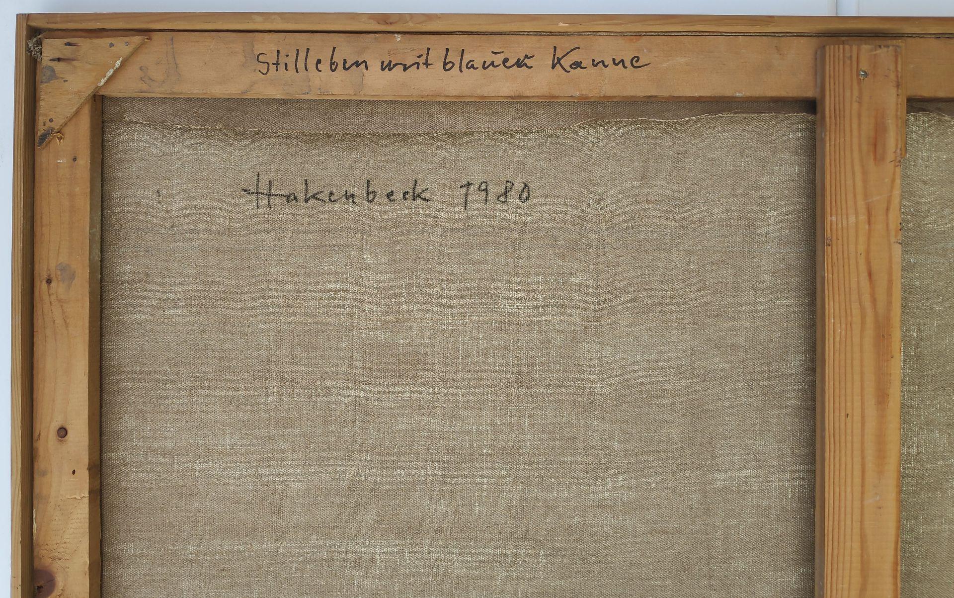 """Hakenbeck, Harald (1926 Stettin, lebt in Berlin) """"Stilleben mit blauer Kanne"""" - Bild 3 aus 3"""