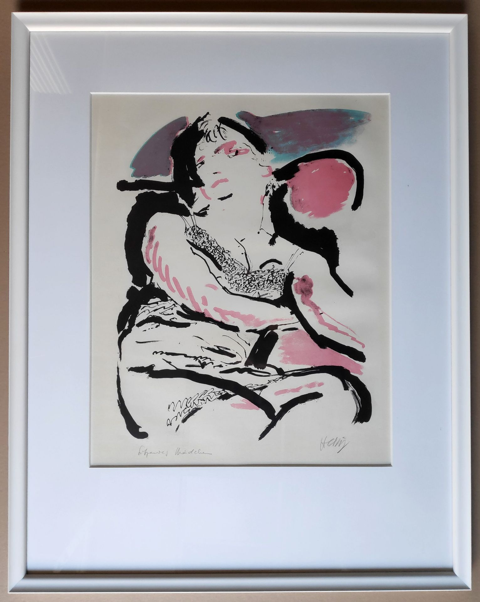 """Heisig, Bernhard (1925 Breslau – 2011 Strodehne) """"Mädchen im Sessel / (Sitzendes Mädchen)"""" - Bild 2 aus 3"""
