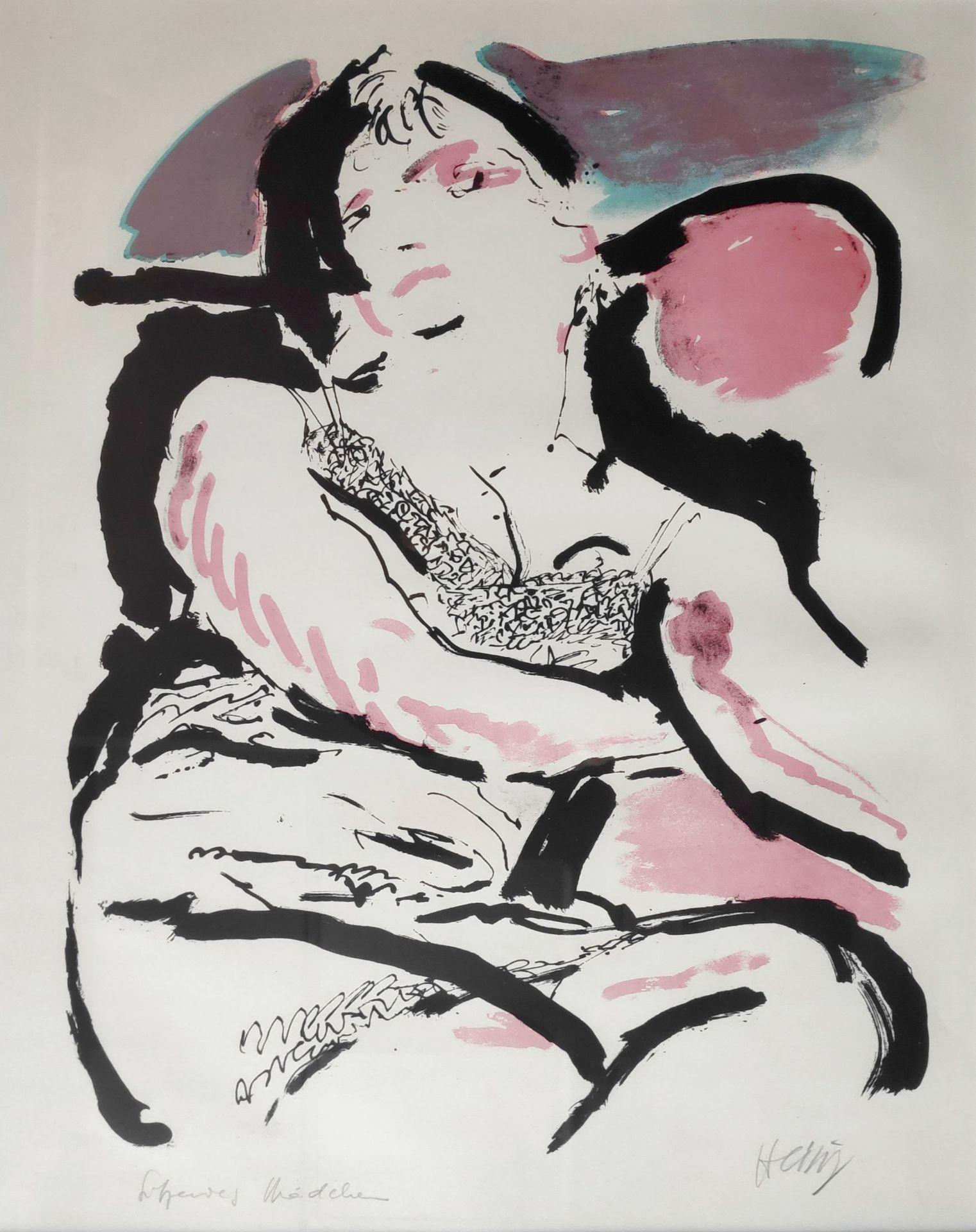 """Heisig, Bernhard (1925 Breslau – 2011 Strodehne) """"Mädchen im Sessel / (Sitzendes Mädchen)"""""""