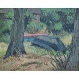 """Curio, Sabine (1950 Ahlbeck , lebt in Stolpe/Usedom) """"Boote zwischen Bäumen"""""""