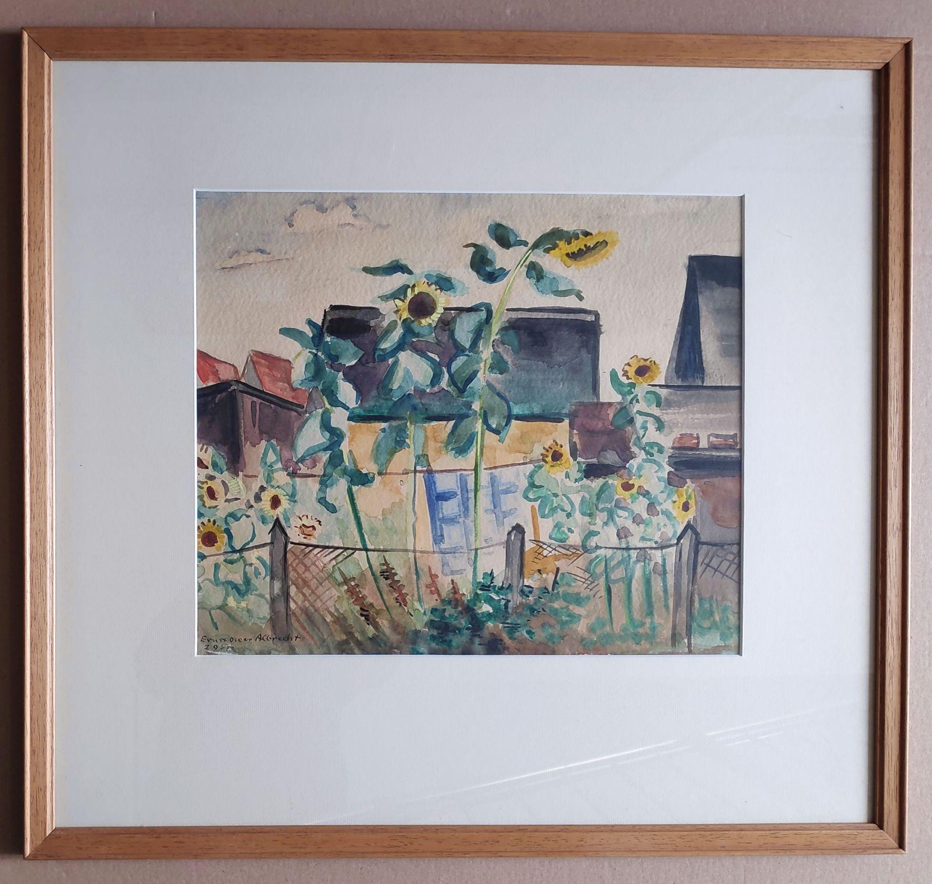 """Albrecht, Ernst Oscar (1895 Ronneburg– 1953 Berlin) """"Gartenstück mit Sonnenblumen"""" - Bild 2 aus 3"""