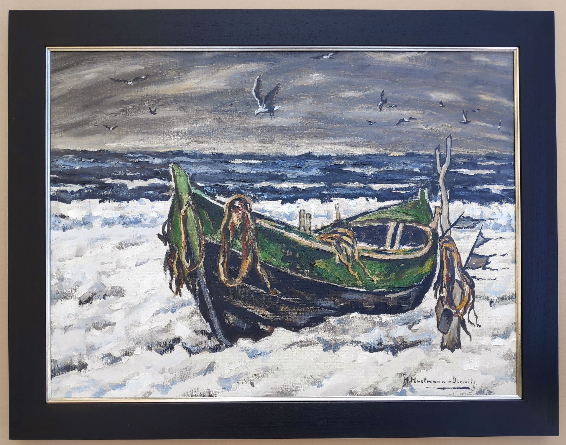 """Hartmann-Drewitz, Hermann (1879 Berlin - 1966 Eutin) """"Fischerboot im Schnee"""" - Bild 2 aus 3"""