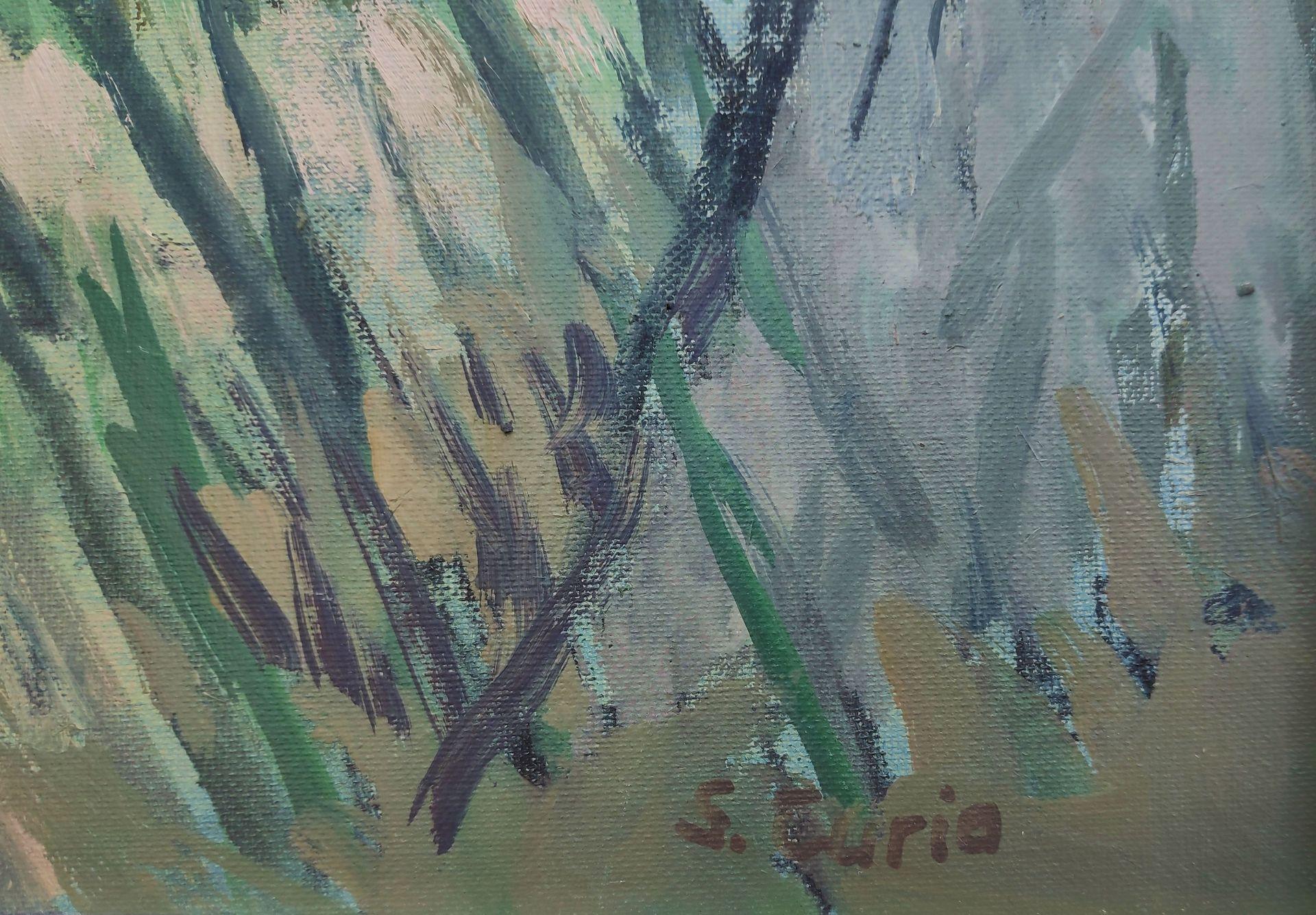 """Curio, Sabine (1950 Ahlbeck , lebt in Stolpe/Usedom) """"Boote zwischen Bäumen"""" - Bild 3 aus 4"""