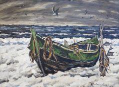 """Hartmann-Drewitz, Hermann (1879 Berlin - 1966 Eutin) """"Fischerboot im Schnee"""""""