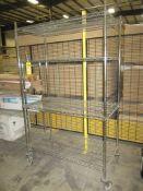 Rolling wire shelves plus light bulbs & fan motor